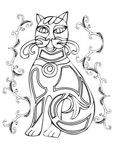 cat celtic coloring pages - photo#7