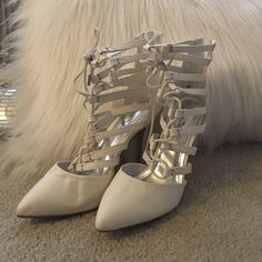 Heels White lace up heels. Size 8 / worn once/ no scuffs! Anne Michelle Shoes Heels