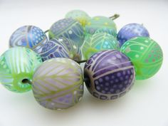 Moogin Beads- Greens and lilacs large round bead set - Lampwork / glass - SRA by mooginmindy on Etsy