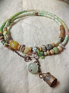 Indian bell and jade charm necklace choker silk wrapped by quisnam, $48.00