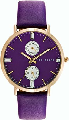 Ted Baker Womens 10024714 Dress Sport Analog Display Japanese Quartz Purple Watch -- Visit the image link more details. Ted Baker Watches, Sporty Watch, Ted Baker Womens, Purple Leather, Quartz, Nordstrom, Lady, London, Dress