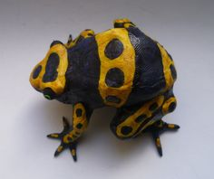 Yellow-banded poison dart frog - Handmade Frog Sculpture, Collectible Art Item, Figurine by AlanJamesdesigns on Etsy