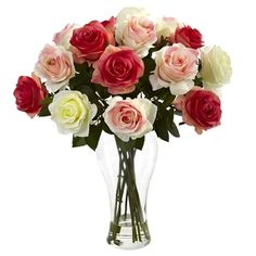 The Assorted Blooming Roses from Nearly Natural complements a dining room, office space and even makes a thoughtful gift. These multicolored artificial roses are placed in a clear glass vase with liquid illusion faux water for lasting style. Rosen Arrangements, Silk Flower Arrangements, Small Artificial Plants, Artificial Flowers, Cool Ideas, Creative Ideas, Faux Flowers, Silk Flowers, Cactus