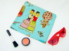 Makeup bag, Frida Kahlo fabric, Mexican fabric bag, kitsch cosmetic case, beach holiday bag, Frida fabric case, retro mexican bag, Mexicana by Kitschosaurus on Etsy