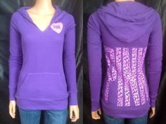 Victoria's Secret PINK S Pullover Purple Animal Print Thermal Lightweight Hoodie
