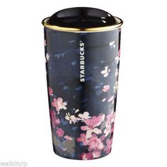 Starbucks+Sakura+Cherry+Pink+Blossom+Black+Dark+Night+Tumbler+Coffee+Mug+Cup+#Starbucks