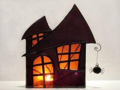 Halloween Decoration Stained Glass Candle Holder Large Purple Orange 2  Handmade OOAK via Etsy