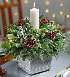 20 Magical Christmas Centerpieces That Will Make You Feel Th.- 20 Magical Christmas Centerpieces That Will Make You Feel The Joy Of The Holidays Galvanized Container Candle Centerpiece - Christmas Candle Decorations, Christmas Flower Arrangements, Christmas Flowers, Christmas Candles, Christmas Greenery, Christmas Dinning Table Decor, Christmas Centrepieces, Table Decorations, Winter Floral Arrangements