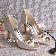 Cheap shoe women, Buy Quality crystal diamond confetti directly from China shoes adult Suppliers:Welcome to our storeHigh Heel Silver Vintage Satin Wedding Shoes Crystal Diamond Peep ToeSize 34