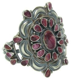 Purple Oyster Shell Native American Old Pawn Style Cuff Bracelet Jewelry GS57012
