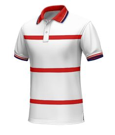 United States Polo Shirt - Every team needs fans. Aid team USA in achieving glory with this World Cup polo. Made from 100% cotton. This white polo has red horizontal stripes across the front. It has a red collar with white and navy blue included on the interior tape. http://www.tailor4less.com/en/collections/custom-polo-shirts/world-cup-polo-collection/united-states-mens-shirt