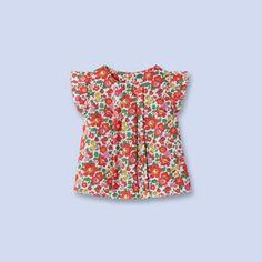 Blouse en tissu Liberty ROUGE/MULTICO Fille - Vêtement Bébé - Jacadi Paris