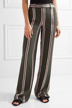 Adam Lippes - Striped Satin-trimmed Twill Wide-leg Pants - Army green - US10
