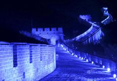 The Great Wall in Blue Lights