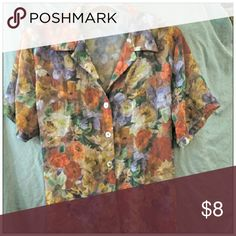 Vintage Sheer Shirt Softly muted colors swirl on this truly vintage blouse.  It's so vintage, it has thin shoulder pads. (Removable, of course).  Look at the Ashley Stewart label!  MOP buttons. Ashley Stewart Tops Button Down Shirts
