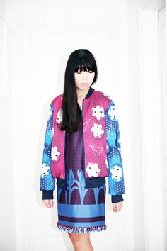 Susie Bubble wearing adidas Originals x Mary Katrantzou bomber jacket worn with Mother of Pearl dress and Marc Jacobs shoes #susielau #stylebubble