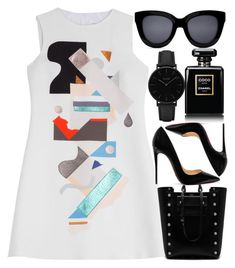 """""""Museum Printed"""" by egordon2 ❤ liked on Polyvore featuring Victoria, Victoria Beckham, Mulberry, Christian Louboutin, CLUSE and Chanel"""