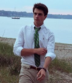 white button down polo dress shirt with a green striped tie!