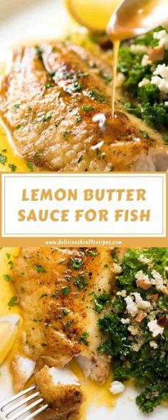 Lemon Sauce For Fish, Lemon Fish, Garlic Butter Sauce, Butter Fish Recipe, Whole30 Fish Recipes, Easy Fish Recipes, Seafood Recipes, Dinner Recipes, Lemon Recipes