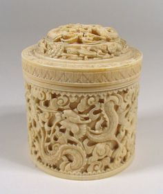 Exquisite Chinese Round Ivory Lidded Box, Qing