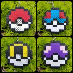 Pokemon! Gotta catch em all!  Show everyone you are the Pokémon master. Keep your Poke ball on your backpack or keys. These keychains are 2.5 inches across and made from Perler beads.  Poke ball (red): Used to catch and store Pokemon  Great ball (blue): Catch rate is 50% better than a regular Poke ball  Ultra ball (yellow): Catch rate is 100% better than a regular Poke ball  Master ball (purple): The rarest of all Poke balls, it is guaranteed to catch any wild Pokémon it is thrown at…