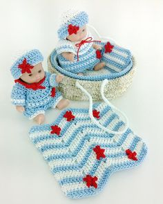 Moses Basket Baby Sailors Crochet Pattern ~ intermediate ~ uses size 3 thread ~ CROCHET