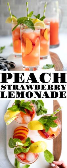 The Best Peach Strawberry Lemonade Loved by both kids and adults, this Peach and Strawberry Lemonade Recipe is made with fresh pureed peaches and strawberries, fresh lemon juice, and minimal amounts of sugar. Homemade Strawberry Lemonade, Homemade Lemonade Recipes, Tea Recipes, Summer Recipes, Dinner Recipes, Cooking Recipes, Peach Lemonade, Strawberry Summer, Strawberry Smoothie