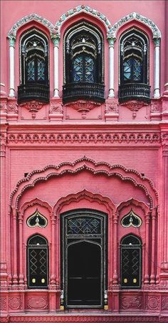 Creative Architecture, Exteriors, Pink, and Facade image ideas & inspiration on Designspiration Amazing Architecture, Architecture Details, India Architecture, Stairs Architecture, Black Architecture, Minimalist Architecture, Beautiful Buildings, Beautiful Places, Modern Buildings