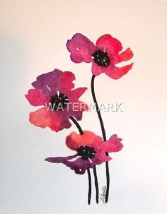 Abstract Cosmos flowers , original watercolour (not print) on 240g paper approx: 7.7 x 6inch / 19.5 x 15cm. FREE SHIPPING $20.00 USD