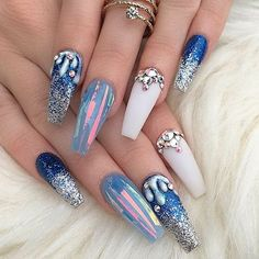 Stunning blue and white chrome hologram 3D rhinestone coffin nails