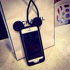 Coque iPhone 5/5S, iNenk® Souris frontière téléphone Shell manchon de protection en tête noire yeux doux TPU Transparent Housse étui pour femmes-noir