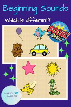 Which picture name begins with a different sound. Instant feedback with boom cards design. Great early literacy practice. Hearing Impairment, Initial Sounds, Beginning Sounds, English Language Learners, Interactive Learning, Language Development, Early Literacy, Speech And Language, Small Groups