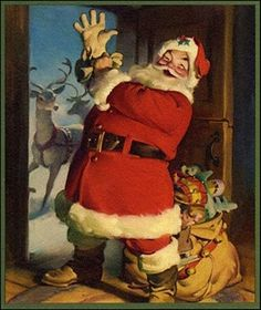 In famed Chicago commercial illustrator Haddon Sundblom painted a jolly, red-garbed Santa Claus for the Coca-Cola Company's 1931 advertising campaign. His depictions of the Coca-Cola Santa, formed America's perception of what Santa Claus looks like. Vintage Christmas Images, Retro Christmas, Vintage Holiday, Christmas Decor, Christmas Mantles, Victorian Christmas, Primitive Christmas, Country Christmas, White Christmas