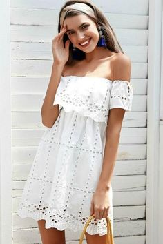 Bella White Eyelet Dress TheChicFind.com #whitedresses #summer #summerdress #lace #streetstyle