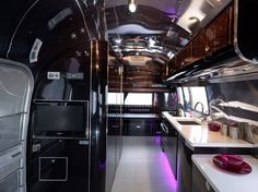 Restored Airstream Interiors | Gloss Gothic Interior Design With Kitchen Design Where The Sink Is Put ...
