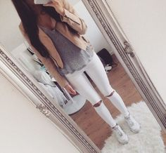 jeans leather jacket ripped jeans air force ones white jeans beige jacket grey t-shirt jacket top