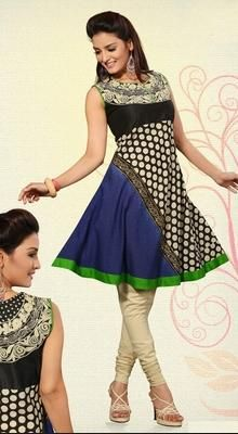 Restyle your senses with arrayed in this beige, black & navy blue cotton silk designer ready made tunic. This attire is beautifully adorned with chikan & polka dotted work. #TrendsetterTunic #CottonIndianKurtis