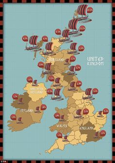 The Viking descendant population is much more prominent up in the northern parts of the British Isles
