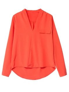 Orange V-neck Long Sleeve Shirt