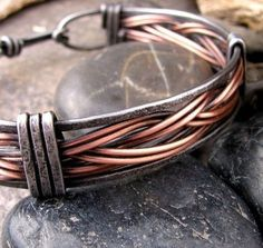 Mens Braided Copper and Iron Bracelet