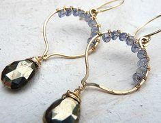 https://www.etsy.com/listing/112210252/pyrite-iolite-and-gold-earrings-dangle    14k gold filled earrings, pyrite, iolite, lotus earrings
