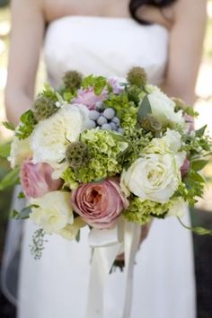 Pink, Green, and Gray Garden Bouquet... Beautiful but minus pink for me