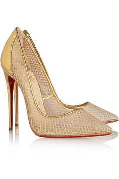 CHRISTIAN LOUBOUTIN Follies Resille metallic leather and fishnet pumps #weddingshoes #weddings #bridalshoes  Glamorous shoes.