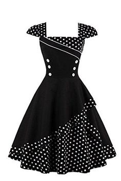 Damen 50er Jahre Vintage Rockabilly Kleid Pin up Cocktailkleid Polka Dots Partykleid Knielang - Gothic-Steampunk-Rockabilly Retro Party, Prom Dresses, Summer Dresses, Midi Dresses, Vintage Cotton, 50s Vintage, Gowns With Sleeves, Black Midi Dress, Collar Dress