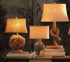 Diy Rope Knot Table Lamp Beach Themed Decor Home