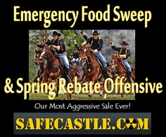Safecastle's most aggressive sale ever--a series of sales on top quality storage food and a cumulative rebate program, on top of buyers club discounts and free shipping!