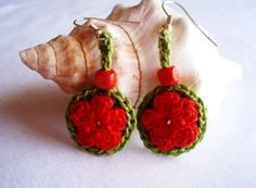 Red earrings, boho chic earrings, crochet earrings, flowers earrings