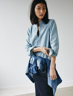 madewell denim popover shirt worn with the oversized jean jacket + denim pencil skirt.