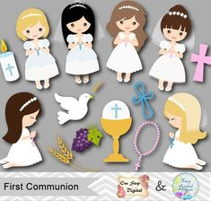Little Girls First Communion Digital Clip Art, First Communion Girl Clipart, 00189 First Communion Banner, First Communion Decorations, First Holy Communion, Communion Banners, Communion Centerpieces, Photos Booth, Clip Art, Diy Party, Party Printables
