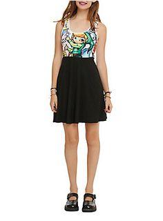 <p>Black and white dress with <i>The Legend of Zelda: The Wind Waker</i> stained glass design on top.</p>  <ul> <li>95% polyester; 5% spandex</li> <li>Wash cold;dry low</li> <li>Imported</li> </ul>